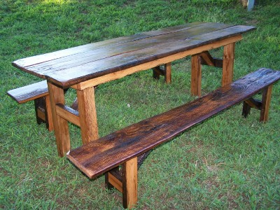 cowboy picnic style table and benches ~ $325 and up